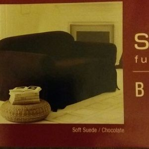 NWT SURE FIT BROWN SUEDE 3 SEATER COUCH COVER Boutique